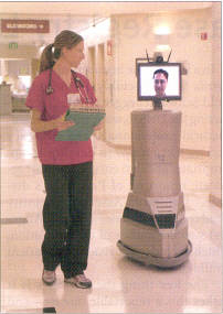 Although it seems the height of parody, some physicians think that they can do rounds effectively through a robotic avatar, such as this one being used at Hackensack University Medical Center in New Jersey. Connecting through a laptop through the internet to a hospital server presents many chances for these 'cyberdoctors' to miss out on what is going on with their 'cyberpatients'. When physicians finally figure out how to solve problems face to face, I will have a lot more confidence in exploring these wacky 'solutions'. This is one of many examples of money and technology wasted on an impractical and misguided program. And what happens when the robot rolls over this nurse's toe? Credit for this picture goes to 'InTouch Health', if that isn't ironic enough. Article is from JAMA, January 12, 2005; page 150. 'Physician Robot Makes the Rounds'